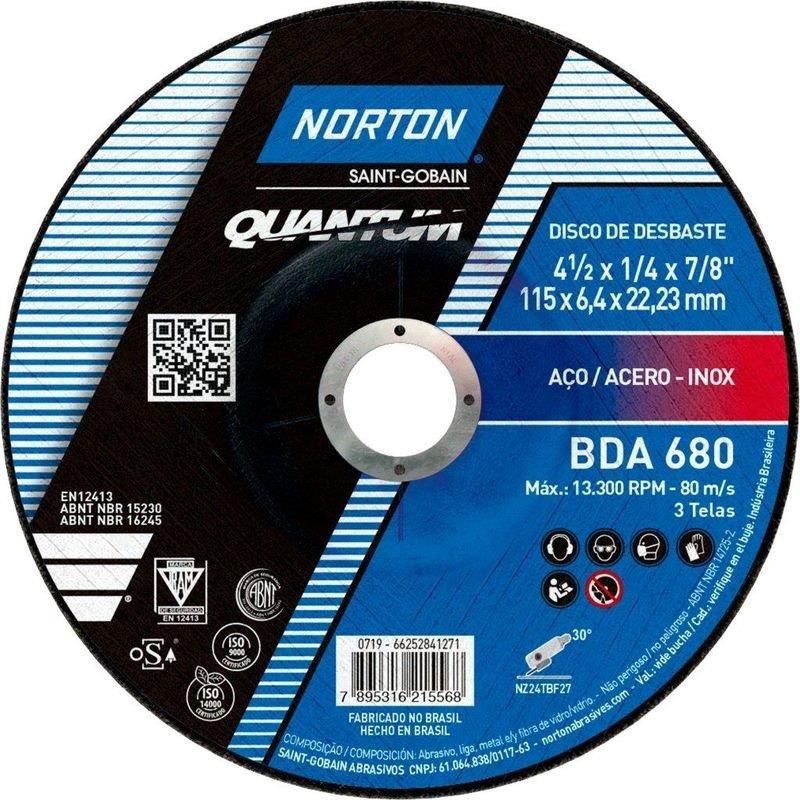 DISCO DESBASTE NORZON 4.1/2 115BDA680 NORTON