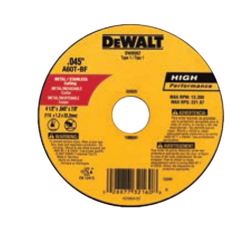 DISCO CORTE INOX 4.1/2 1.0MM DW44618 DEWALT
