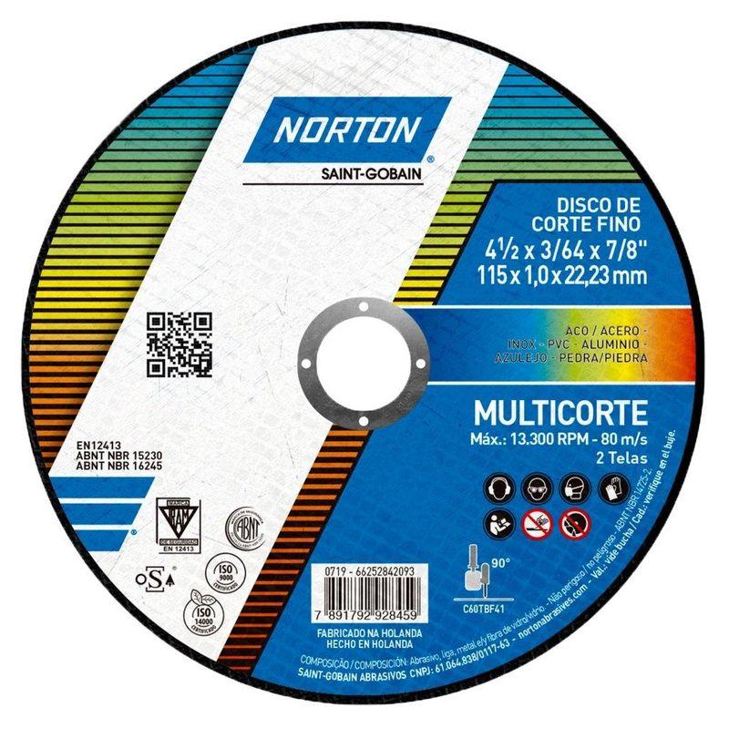 DISCO CORTE 4.1/2X1.0X7/8 MULTICORTE NORTON