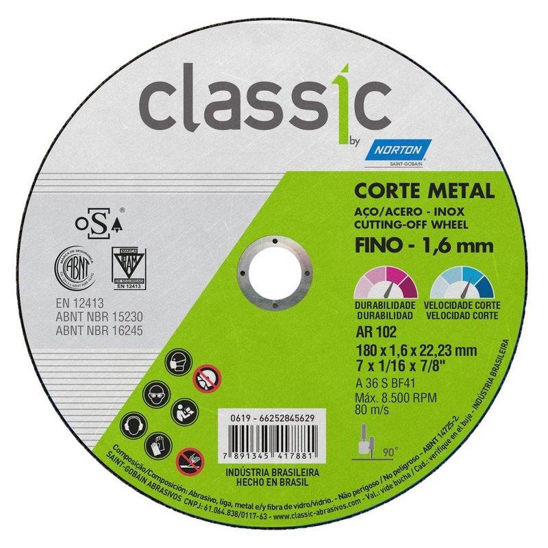 DISCO CORTE FERRO/INOX 7 AR102 1.6 CLASSIC NORTON