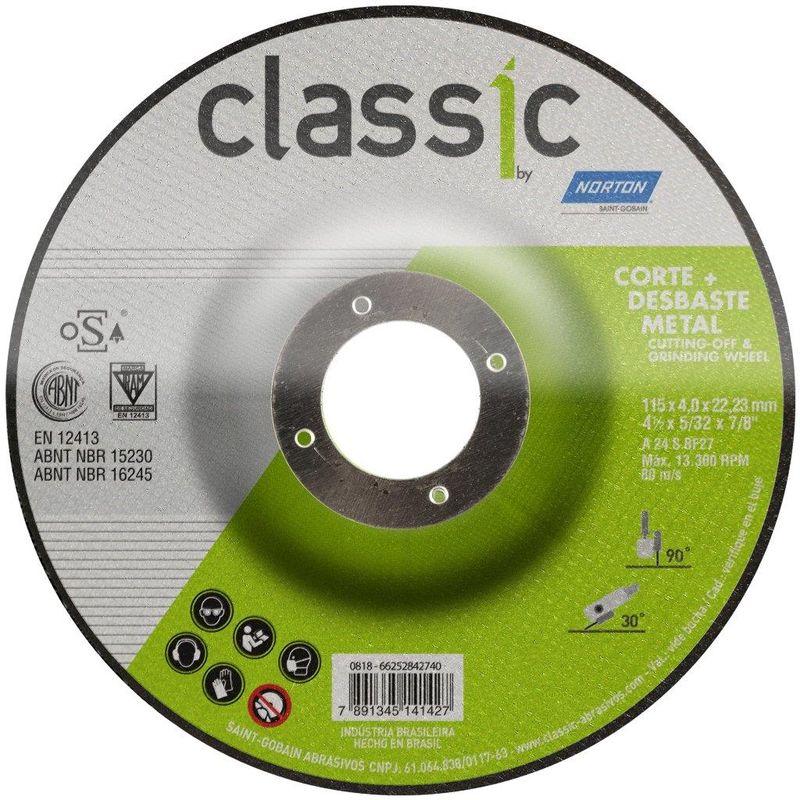 DISCO CORTE DESBASTE FE 4.1/2 BDA403 CLASSIC NORTON