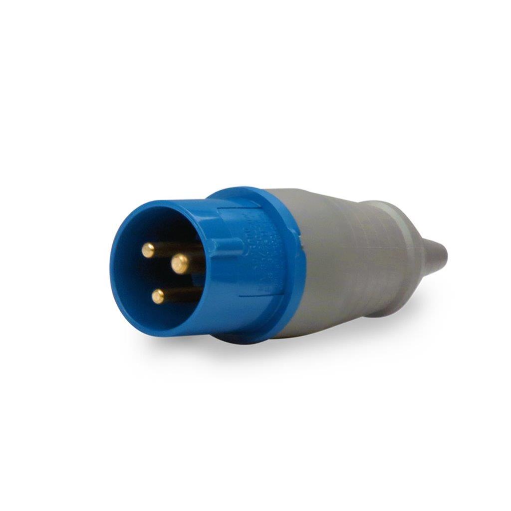 PLUG MACHO 2P+T 16A 220/240V IP44 6H IEC 60390 AZ PLS N3076 SOPRANO