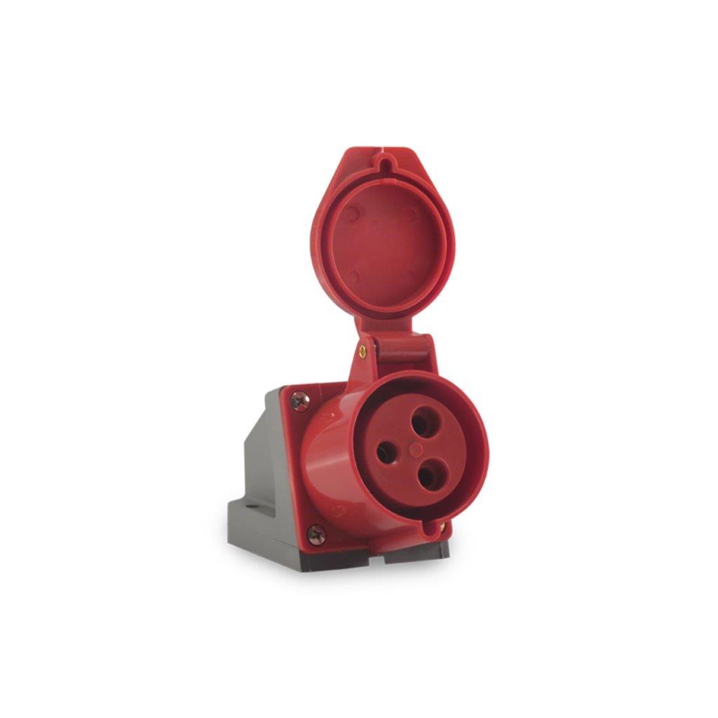 TOMADA SOBREPOR FEMEA 3P+T 32A 380/440V IP44 9H IEC 60390 AZ PLS N4206 SOPRANO