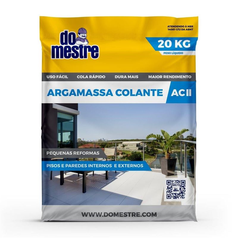 ARGAMASSA AC2 SACO C/ 20KG DO MESTRE