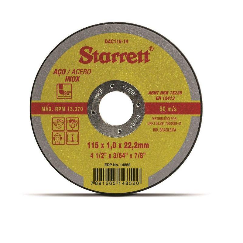 DISCO CORTE FERRO/INOX 4.1/2 DAC115-24 1.6 STARRETT