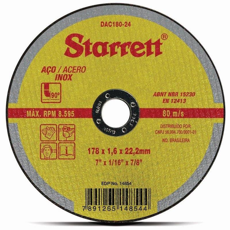 DISCO CORTE FERRO/INOX 7 DAC180-24 1.6 STARRETT