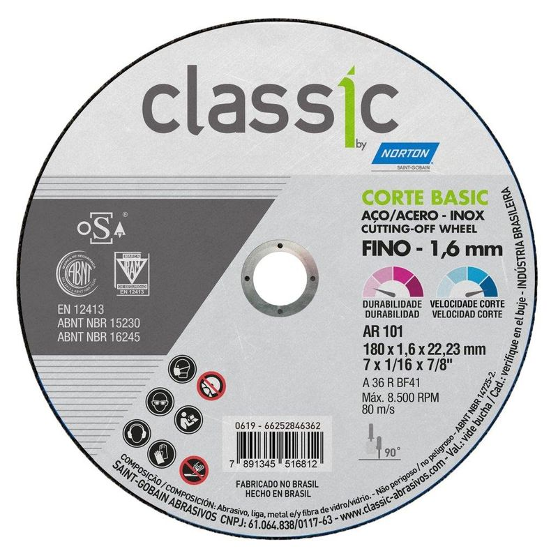 DISCO CORTE FERRO/INOX 7 AR101 1.6 CLASSIC BASIC NORTON