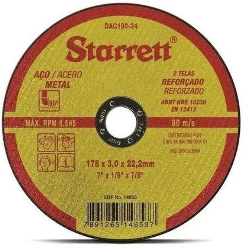 DISCO CORTE FERRO/INOX 7 DAC180-34 3.0 STARRETT