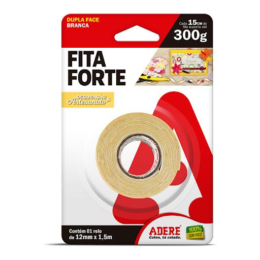 FITA DUPLA FACE 12X1,5 FIXA FORTE ESPUMA ADERE