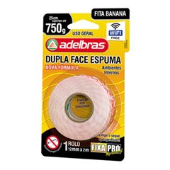 FITA DUPLA FACE ESPUMA 19X2 FIXA PRO 941 ADELBRAS